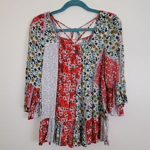entro Patchwork Fabric Boho Top - S
